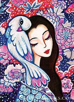 Geisha and Asian Inspired Dibujos Tumblr A Color, Coloring Book Art, Chicano Art, Illusion Art, Arte Popular, Whimsical Art, Portrait Art, Beautiful Artwork, Artist Painting