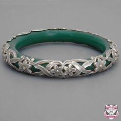 Antique Art Nouveau Glass Bangle Bracelet  via FCI Archives