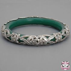 Art Nouveau Glass Bangle Bracelet