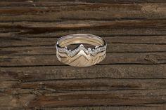 Teton Mountain Stacking Ring 14KY & 14KW with Diamonds (3 Ring Set)