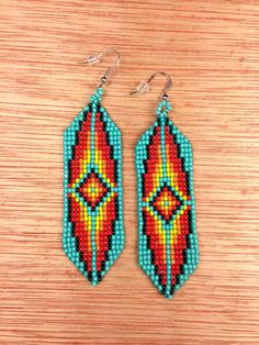 Turquoise Tribal Seed-bead Earrings - Cherry Blossom