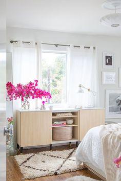 designlovefest #bedroom makeover - #DIY Ikea credenza w/ added marble top