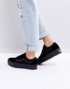 8e045f7a1a5b Vans Old Skool triple black platform sneakers Vans Platform Sneakers