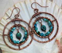 Hammered Copper Wire Wrapped Double Hoop Turquoise Earrings, Blue | OwlHollowStudio - Jewelry on ArtFire