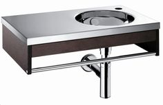 WS Bath Collection GNARO 66591.10 Stainless Steel and Oak Top and Integrated Sink in Stainless Steel with Wenge Wood Frame and Towel Bar