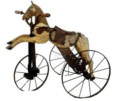 19th C. Child's Horse Tricycle from France - Decorative Collective Danish Furniture, Retro Furniture, French Furniture, Mid Century Modern Furniture, Antiques Online, Antiques For Sale, Selling Antiques, Vintage Antiques, Antique Toys
