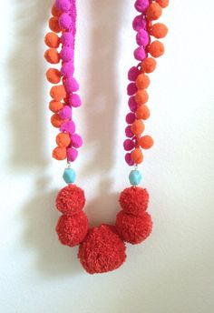 Colorful PomPom Necklace with Embroidery & PomPom Trim