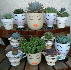 Painted Clay Pots, Painted Flower Pots, Face Planters, Flower Planters, Container Plants, Container Gardening, Plant Containers, Decorated Flower Pots, Pottery Painting Designs