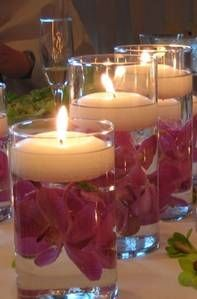 mini floating candles and flowers