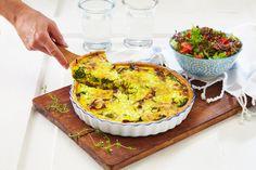 En deilig oppskrift på pai med spinat, bacon, løk og cottage cheese. Spar tid ved å bruke ferdig Nå Paibunn.