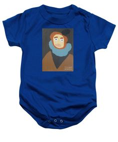 Patrick Francis Royal Blue Designer Baby Onesie  featuring the painting Portrait Of Maria Anna 2015 - After Diego Velazquez by Patrick Francis