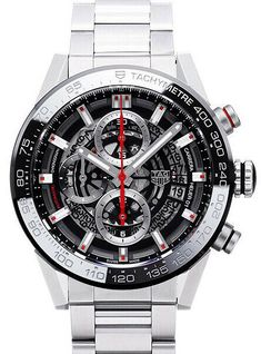 Tag Heuer Carrera Skeleton Black Dial Men's Chronograph Watch for sale online Best Watches For Men, Luxury Watches For Men, Cool Watches, Tag Heuer Carrera Chronograph, Tag Heuer Carrera Calibre, Tag Watches, G Shock Watches, Mens Watches Leather, Bracelets