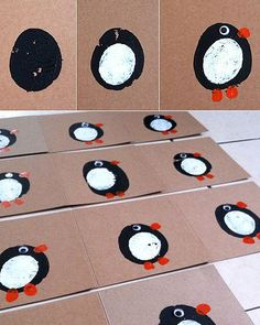 DIY Christmas Cards - Potato Print Blackbirds - Click pic for 25 Holiday Crafts