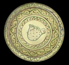 A large sgraffiato pottery Footed Dish Persia 11th Century of rounded form with wide everted & Dansk Arabesque (Sri Lanka Phillipines) Luncheon Plate Fine China ...