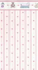 Dollhouse wallpaper pink hearts with dollhouse furniture border Model: MG139D24