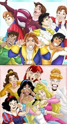 "Disney Princes and Princesses making silly faces. ""bri chan-disney-disney prince-funny disney-princess-tag artist."" Posted on weheartit.com by sara_jarvinen_."