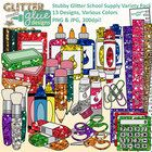 Looking for a value pack chock full of school supply clipart? Like a little bling, too? Check out Stubby Glitter School Supply Variety Pack clipart...