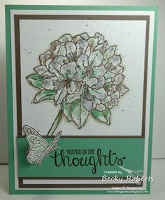 STAMPS: Best Thoughts. PAPER: Mint Macaroon, Soft Suede, Whisper White. OTHER: Blender Pens, Two Way Glue, Dazzling Diamonds Glitter.