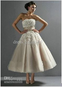 Cute to change into for reception... Wholesale Hot Sale A-line Strapless Tulle Lace Tea Length Bridal Short Sexy Wedding Dresses Wedding Gown Dress, Free shipping, $136.36/Piece | DHgate