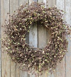 Pip Berry Wreath, Coffee Bean Pip Berry Wreath, Brown, Green, and Cream Pip Berry Wreath, Fall Wreath, Primitive Wreath, Mantle Decor by WhimsyChicDesigns on Etsy