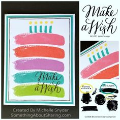 Splash some bold color on your birthday projects with these stamping techniques using the CTMH Brushstrokes Stamp Set. Click here to order a set for your celebrations. http://michelle.ctmh.com/Retail/Product.aspx?ItemID=8342  #SomethingAboutSharing #birthdaycards