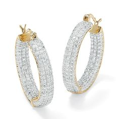 6.0 TCW Round Cubic Zirconia 14k Gold-Plated Inside-Out Hoop Earrings at PalmBeach
