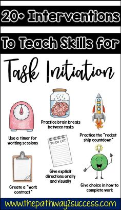 Interventions for Executive Functioning Challenges: Task Initiation Executive functioning supports and interventions for kids and young adults who struggle with task initiation. These kids and teens might struggle to get started and appear as avoiding wor Social Emotional Learning, Social Skills, Social Work, Study Skills, Life Skills, Adhd Strategies, Teaching Strategies, Executive Functioning, Behavior Management