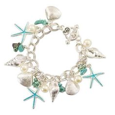 PERIWINKLE by BARLOW Silver Turquoise Pearl SEASHELL STARFISH Charm Bracelet NWT #PeriwinklebyBarlow #Charm