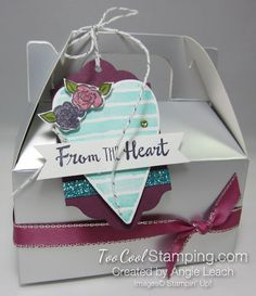 """8 SNEAK PEEKS!  From The Heart Silver Mini Gable Box!  All new products from the 2018 Occasions Catalog: Heart Happiness stamp set, Petal Palette stamp set, Silver Mini Gable Boxes, Berry Burst Metallic Edge Ribbon, Myths & Magic 6x6"""" Glimmer Paper, Silver White Baker's Twine & Sweet Soiree Ready Shreddie for the inside!  All available on January 3, 2018, at www.TooCoolStamping.com"""