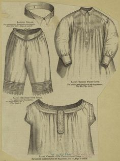 """""""Banting collar ; Lady's drawers with shirt ; Lady's tucked night-gown ; Lady's chemise with embroidered yoke"""" NYPL Digital Gallery"""