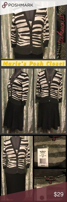 Tiger Striped Cardigan Charcoal and silver striped top, with dar charcoal trim, this piece is super cute with a handful (5) of buttons down the low v-neck front. 3/4 sleeves and short waisted, great for layering. EUC. Takeout Sweaters Cardigans