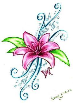 Pink Lily Flower Tattoos Design