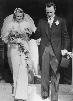 Ingrid Bergman with Petter Lindström on their wedding day in 1937.