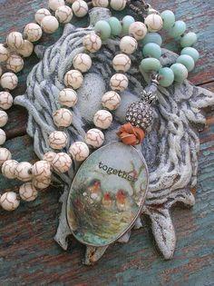 Knotted necklace pendant necklace  Together  Boho by 3DivasStudio