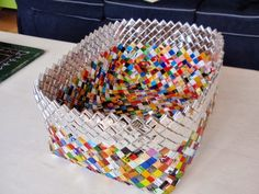 woven basket made of recycled wrappers, from the alles vanellis blog