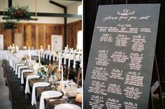 Rustic Montana Wedding / chalkboard seating chart by Cast Calligraphy