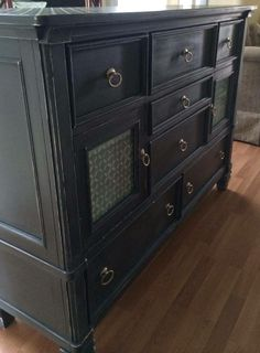 A damaged dresser that was refinished with Graphite & Old White Chalk Paint® decorative paint by Annie Sloan | By Quite Contrary Furnishings  https://www.facebook.com/QuiteContraryFurnishings/posts/533579370085353