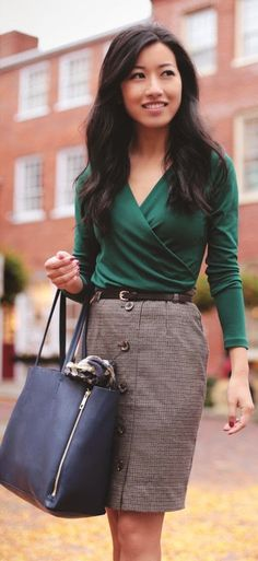 Emerald blouse, black bag, skirt. Street fall women fashion outfit clothing style apparel @roressclothes closet ideas