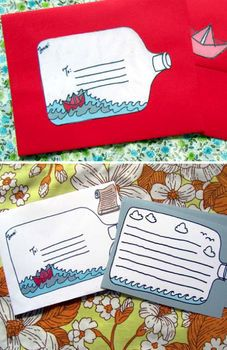 message in a bottle printable stationary. Cute! Then inside have and origami boat hat letter