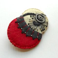 Felt Pin Contemporary Art Flower and Leaves by urbancottage1