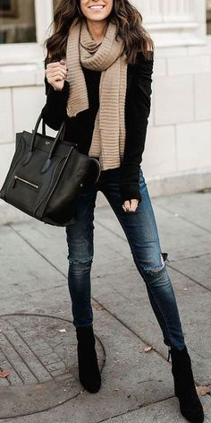 #Winter #Outfits / Camel Scarf + Black Sweater