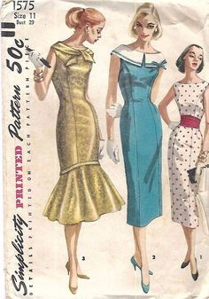 Cocktail Evening or Day Dress Pattern Simplicity 1575 Slim Sheath Dress or Flounced Bottom Mermaid Version 3 Styles Vintage Sewing Pattern Bust 34 Dress Making Patterns, Vintage Dress Patterns, Vintage Dresses, Vintage Outfits, Moda Vintage, Vintage Mode, Size 16 Dresses, Day Dresses, Summer Dresses