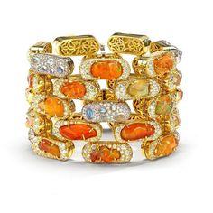 Nicholas Varney Fire Opal Flex Brick Bracelet ($279,000) ❤ liked on Polyvore