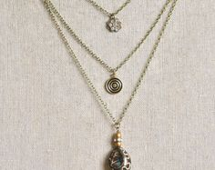 Serena. Bohemian layered charm necklace. by tiedupmemories on Etsy