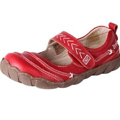 Women's Wide Leather Mary Janes Shoes Casey Red | The Shoe Link