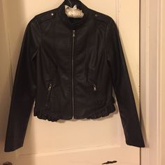 Faux Black Leather Bomber Jacket Cute bomber with ruffle detailing. Almost like new condition with the exception of a small tear on back of neck (shown in pic) Rue 21 Jackets & Coats Utility Jackets