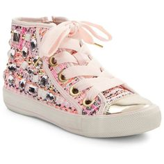 Ash Vanessa Embellished High-Top Sneakers ($110) ❤ liked on Polyvore featuring shoes, sneakers, pink shoes, denim sneakers, metallic high top sneakers, studded high top sneakers and lace up sneakers