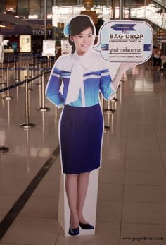 Bangkok Airports Cardboard Ladies are Ready To Welcome You Cabin Crew, Flight Attendant, Bangkok, Peplum Dress, Smile, Lady, Fashion, Moda, Fashion Styles