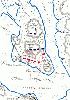 Map of the Battle of Bunker Hill on June 1775 in the American Revolutionary War: map by John Fawkes Revolutionary War Battles, American Revolutionary War, American Civil War, American History, Military Tactics, Military Art, Military Weapons, American Revolution Battles, Siege Of Petersburg