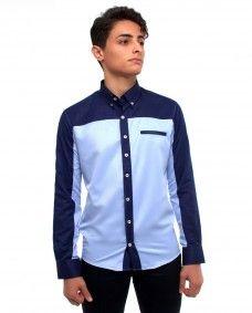 9b3e726097 Camisa Azul de Dos Tonos Manga Larga. Alpha Noir · Alpha Noir Camisas para  Hombre